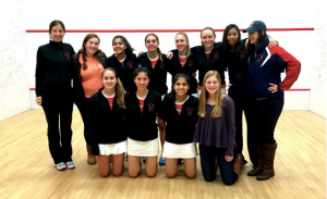 Winsor varsity squash (and jv squash supporters!) after beating Milton for a 5th place finish at High School Nationals